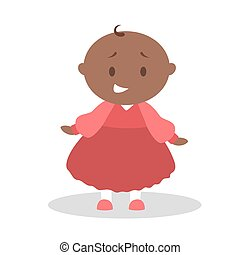 Cute little baby girl standing. Toddler in red dress