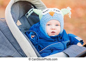 Cute little baby in a stroller