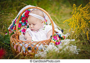 cute little baby in basket