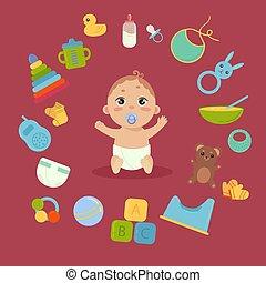 Cute little baby in diaper with newborn essentials - Set...