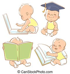 Cute little baby learning. - Set with genius babies in ...