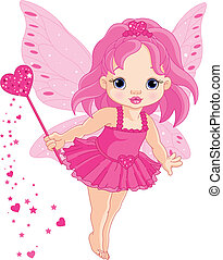 Cute little baby Love fairy - Illustration of Cute little...