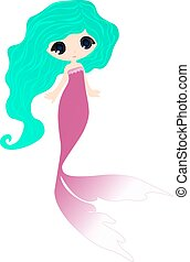 cute little baby mermaid tail cartoon stock vector logo illustration on a white background