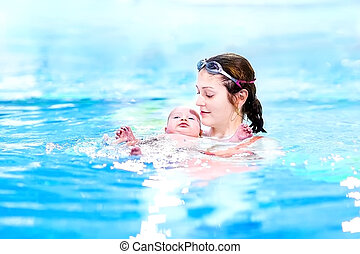 Cute little baby relaxing in a swimming pool with his mother