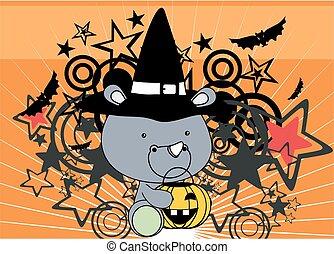 cute little baby rhino cartoon halloween costume background