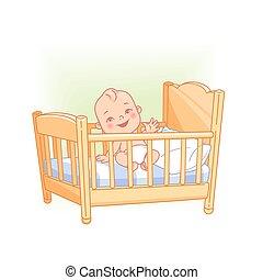 Cute little baby sit awake in bed. - Cute little baby sit in...
