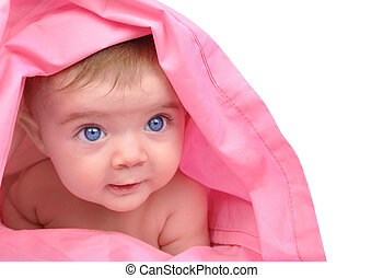 Cute little Baby Staring Up on White - A cute little baby...