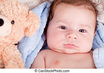 cute little baby todler infant lying on blanket with teddy ...