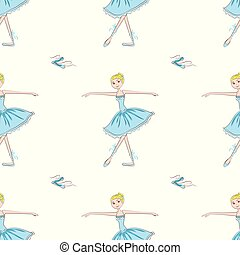 Cute little ballerina seamless pattern