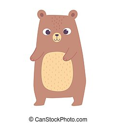 cute little bear animal cartoon isolated design icon