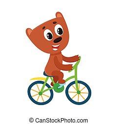 Cute little bear character riding bicycle, cycling, holding...