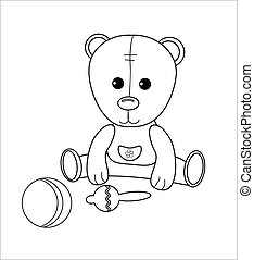 Cute little bear character with rattle, ball. Coloring page with toys. Vector simple game for kids. Linear illustration for preschool pastime.