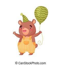 Cute little bear holding a balloon. Vector illustration on white background.