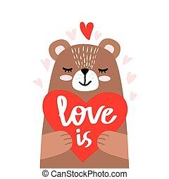 cute little bear holding heart