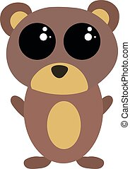 Cute little bear, illustration, vector on white background.