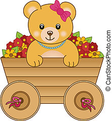 Scalable vectorial image representing a cute little bear inside cart flowers, isolated on white.