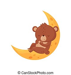 Cute little bear sleeping on the moon, lovely animal cartoon character, good night design element, sweet dreams vector Illustration