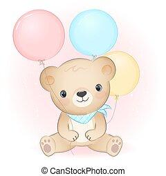 Cute little bear with balloon hand drawn animal cartoon illustration