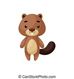 Cute little beaver on white background. Cartoon animal character for kids cards, baby shower, posters, b-day invitation, clothes. Bright colored childish vector illustration in ecartoon style.