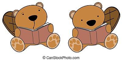 cute little beaver reading cartoon
