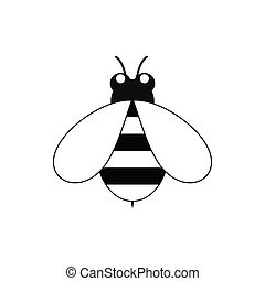 Cute little bee icon, black simple style