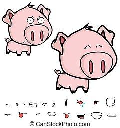 cute little big head pig cartoon in vector format