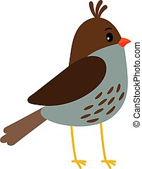 Cute little bird icon - Cute little sparrow like bird icon...