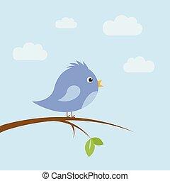 cute little bird sitting on a branch in summer