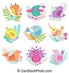 Cute Little Birds Set, Symbols of Spring Colorful Vector Illustration
