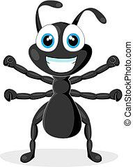 cute little black ant - vector illustration of a cute little...