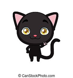 Cute little black cat illustration