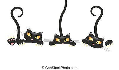 Cute little black kitty set, cartoon character for apparel ...