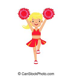 Cute little blond cheerleader girl dancing with red pompoms....