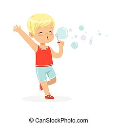 Cute little blonde boy blowing bubbles vector Illustration...