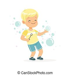 Cute little blonde boy playing bubbles vector Illustration isolated on a white background
