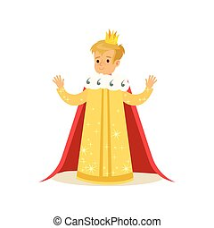 Cute little blonde boy wearing a king costume, fairytale costume for party or holiday vector Illustration