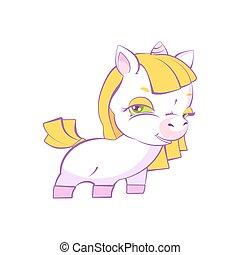 Cute little blonde girl white unicorn