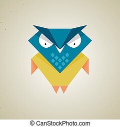 Cute little blue and yellow cartoon owl