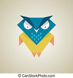 Cute little blue and yellow cartoon owl