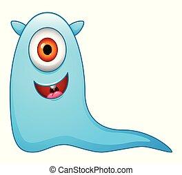 Cute little blue cartoon monster on white background