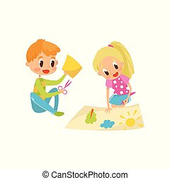 Cute little boy and girl cutting application details, kids creativity, education and development concept vector Illustration on a white background
