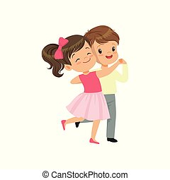 Cute little boy and girl dancing vector Illustration on a white background
