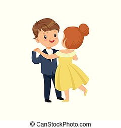 Cute little boy and girl dancing waltz in elegant clothes vector Illustration on a white background