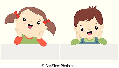 Cute Little Boy and Girl Kawaii Style With Banner Set Flat Vector Illustration Isolated on White