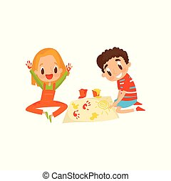 Cute little boy and girl sitting on the floor and painting with colorful handprints, education and child development concept vector Illustration on a white background