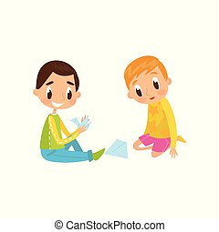 Cute little boy and girl sitting on the floor doing origami crane, education and child development concept vector Illustration