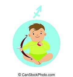 Cute little boy as Sagittarius astrological sign. Horoscope symbol colorful character vector Illustration