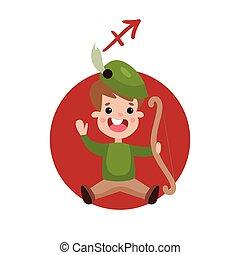 Cute little boy as Sagittarius astrological sign, horoscope zodiac character colorful cartoon vector Illustration
