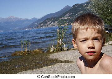 cute little boy at the beach