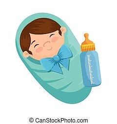 cute little boy baby with bottle milk
